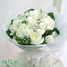 永恆情人節浪漫白玫瑰花束